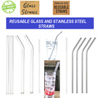 Reusable Stainless Steel Straws Reusable Glass Straws with cleaner pack of 4