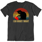 Crazy Cat Funny Kitty I Do What I Want Meow T Shirt Classic Black Tee New