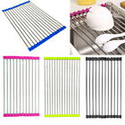 Roll Up Dish Drying Rack Over the Sink Stainless Steel Colander Dish Kitchen L