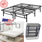 Platform Bed Frame Heavy Duty Folding Foundation Steel Base King Queen Full Twin