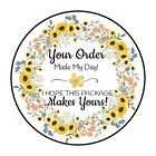 "30 1.5"" SUNFLOWER FLOWERS WREATH THANK YOU ORDER ENVELOPE SEALS LABELS STICKERS"