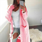 Womens Knit Long Cardigan Ladies Chunky Sweater Open Front Pocket Coat Tops