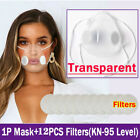 Reusable Anti-droplets Respirator Face Mouth Covers Clear Face Masks +10xfilters
