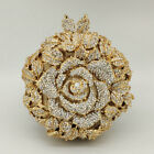 Rose Flower Women Crystal Evening Clutch Bags Wedding Party MInaudiere Purses