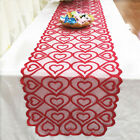 Valentine Day Lace Table Cloth Heart Pattern Diy Reusable Home Washable Runner