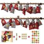 24Pcs Drawstring Pouch Christmas Gift Candy Storage Bag Clip Rope Stickers Kit E