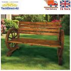 Garden Cart Wheel Bench Wood Metal Bench Outdoor Seating Rose Design Cast Iron