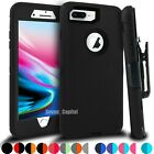 For iPhone 6 7 8 Plus Shockproof Defender Case with Belt Clip + Screen Protector