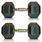 Hex Dumbbells Rubber Encased Ergo Weights Sets Hexagonal Dumbbell Gym Fitness <br/> Sold as pairs 2.5 KG to 20 KG