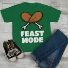 Kids Funny Thanksgiving T Shirt Feast Mode Graphic Tee Turkey Leg Shirt Legs Boy