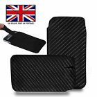 Carbon Fiber Leather Slim Pull Tab Phone Cover Pouch - Energizer Hardcase H570S