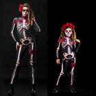 Kids/Women Skeleton Fancy Party Costume Jumpsuit Halloween Cosplay Bodysuit