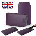 Purple Leather Slim Pull Tab Phone Cover Pocket Pouch For Energizer Hardcase H10