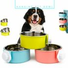 1pc Cage Hang-on Bowl Stable Dog Bowl Cat Feeder Pet Bowl Plate Durable UK