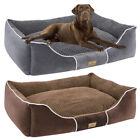 Deluxe Dog Bed Large Medium Pets Rectangle Cuddler with Soft Detachable Cushion