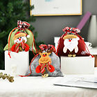 1x Christmas Santa Elk Gnome Doll Apple Candy Drawstring Bag Gift Packing Pouch