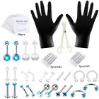 14g 16g Needles Professional Piercing Tool Kit Ear Nose Belly Body Jewelry Set