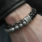 Natural Map Stone Men's Women Beaded Stainless Steel Bracelets Jewelry Tiger Eye
