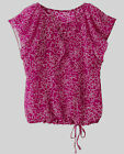 Fuchsia Pink White Floral Blouse Top Sizes 10 12 14 16 18 20 Flounce Cap Sleeve