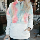 Winter Patchwork Women Printed Long Sleeve Loose Plush Coat Outerwear Pullover E