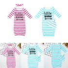 Newborn Baby Girls Nightgown Outfit Sleeping Bag Stripes 2PS Clothes Sleepwear