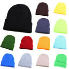 Beanie Plain Knit Hat Winter Solid Cuff Cap Slouchy Skull Ski Warm For Men Woman