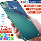 "Note23 Pro Android10 512GB 12GB RAM FACTORY UNLOCKED 7.2"" HD 2320 1080 Global"