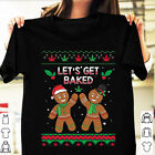 Let's Get Baked Gingerbread Funny Christmas T Shirt Cotton Black Tee