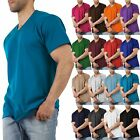 Men Solid V-Neck Short Sleeve T-Shirts Heavy Comfort Big and Tall Cotton