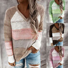 Women Autumn V Neck Pullover Strip Hollow Color-matching Long Sleeves Sweater