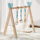 Foldable Baby Play Gym Frame with 3 Wooden Baby Teething Toys Blue  Gray