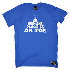 Rock Climbing T-Shirt Funny Novelty Mens tee TShirt - A Womans Place Is On Top