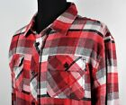 O'neill Mens XL Shirt Jacket Striped 100% Cotton Washed Soft Red Tan