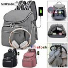 Mummy Large Diaper Bag Stroller Baby Nappy Travel USB Backpack With Bottle Cover
