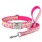 Dog Collar Leash Set Rose Floral Personalized Custom Engraved Name Small Large