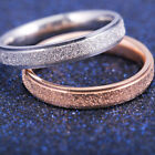 Stainless Steel Rose Gold Silver Frosted Wedding Band Ring Women's Jewelry Gift
