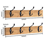 2 Pcs Rustic Wood Coat Rack Wall Mounted Clothes Hanger 4 Tri-Hooks for Entryway