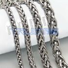 """Mens Boys Womens Silver Stainless Steel Wheat Chain Necklace 3/5/6/8mm 20""""~30"""" ."""