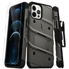 For Apple iPhone 12 Pro Max Bolt Series Hybrid Case w/Tempered Glass & Kickstand