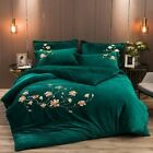 Luxury Flowers Bird Embroidery Fleece Fabric Bedding Set Flannel Cover Bed Sheet