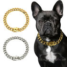 Gold Chain Dog Collar Stainless Steel Strong Choker Training Luxury Show Bulldog