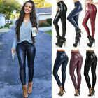 Womens PU leather Leggings High Waist Stretchy Push Up Pencil Pants Skinny New