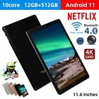 """10.1"""" Wifi Tablet Hd 12+512gb Tablet Android 11 Pad 10 Core Netflix Dual Camera"""