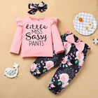 "3Pcs Newborn Outfits Kids Baby""s Girl T-shirt Floral Pants Headband Clothes Kit"