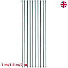10x Garden Posts Metal Green Fencing Plant Secure Supports Spikes Multi Sizes UK