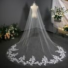 Wedding Accessories Mariage 3m Wedding Veil With Comb Lace Edge Cathedral