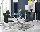 LEONARDO Black White Chrome & Glass Dining Table Set And 4 Dining Chairs