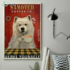 Coffee Company Samoyed Vertical Art Print Poster, Indoor Home Decoration Gift