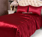 3 PCS 22MM 100% PURE SILK SATIN DUVET QUILT COVER PILLOWCASE SET ALL SIZE