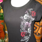 LadiesHermosa Beach Skull and Roses Cap Sleeve T Shirt